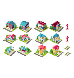 isometric set town infrastructure vector image