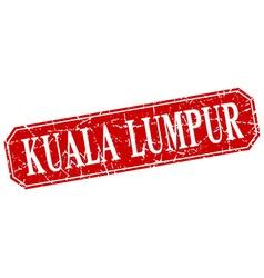Kuala Lumpur red square grunge retro style sign vector image