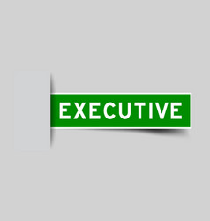 Label sticker green color in word executive that vector