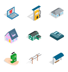 Landlord icons set isometric style vector