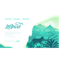Leopard landing page template vector