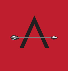 Letter a monogram with arrow as cross bar vector