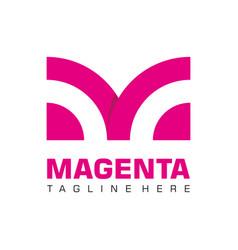 letter m business logo flat monochrome vector image
