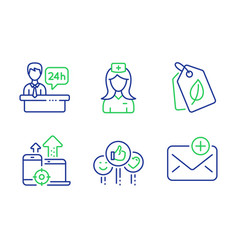 Like reception desk and seo devices icons set vector