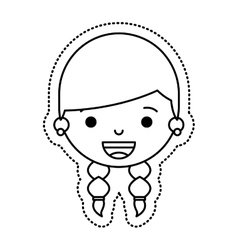 little girl character icon vector image