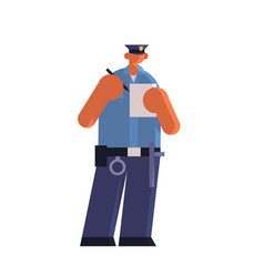 Male police officer writing report parking fine vector