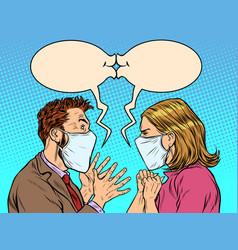 Man and woman in medical masks kiss vector