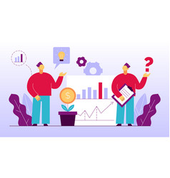 Man teamwork on accounting financial management vector