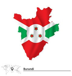 Map of Burundi with flag vector image