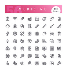 Medicine line icons set vector