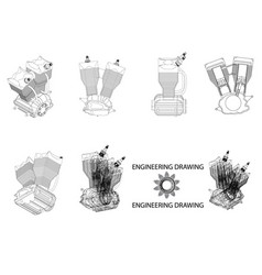 motorcycle engine drawing vector image