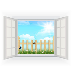 Open window with Spring background vector