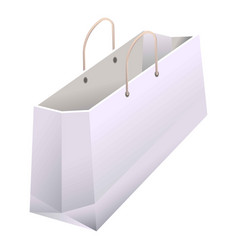 paper shopping bag with handles 3d realistic white vector image