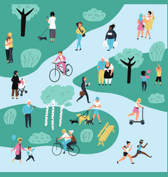 people in park outdoor activity characters vector image