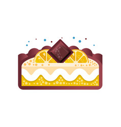 Piece of layered delicious lemon cake with vector