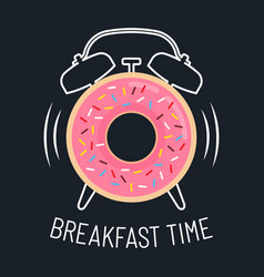 Pink glazed donut and alarm clock vector