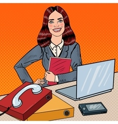 Pop Art Business Woman at Office Work with Laptop vector