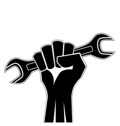raised fist holding a wrench icon clenched vector image