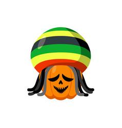Rasta halloween rastaman hat and dreadlocks vector