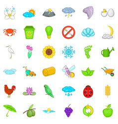 Recycling icons set cartoon style vector