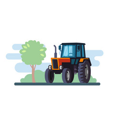 Red tractor on landscape in flat design vector