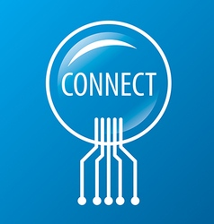 Round logo network connection vector
