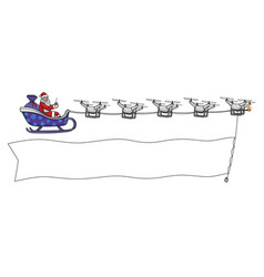 santa claus is flying on drones and shows banner vector image