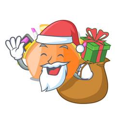 santa with gift cosmetic bag above cartoon vector image