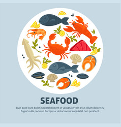 seafood promo banner with delicious exquisite food vector image