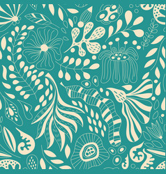 Seamless floral pattern with fantastic flowers vector