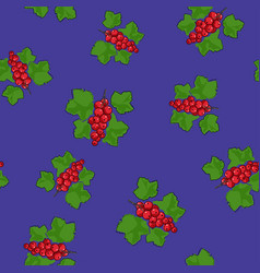 Seamless pattern redcurrant on purple background vector