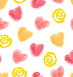 Seamless watercolor hearts and swirls pattern vector