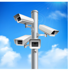 security cameras realistic composition vector image