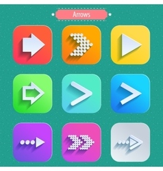 Set arrow icons flat UI design trend vector image