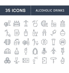 Set Flat Line Icons Alcoholic Drinks vector