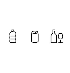 set icons for recycling in linear design vector image