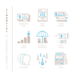 Set of financial icons and concepts in mono thin vector