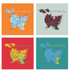 Set of flat ho chi minh city administrative map vector