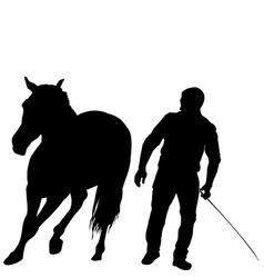 Silhouette of a man training a horse vector