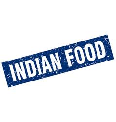 Square grunge blue indian food stamp vector