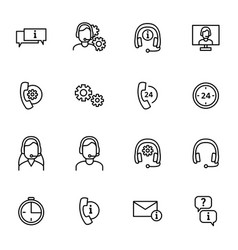 support signs black thin line icon set vector image