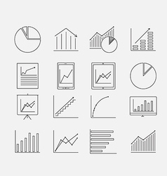 Thin Diagram icon set vector