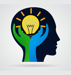 thinking head palm with rays light from the vector image