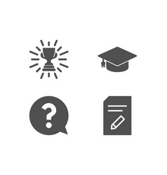 Trophy question mark and graduation cap icons vector