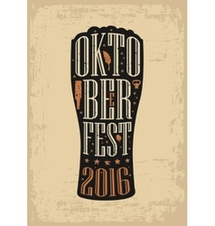 Typography poster Beer glass on brown old paper vector image