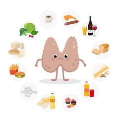 Unhappy thyroid gland cartoon character vector