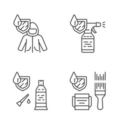 waterproofing linear icons set vector image
