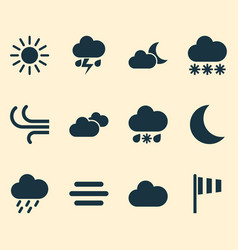 Weather icons set collection of weather cloudy vector
