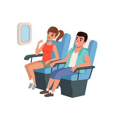 Young tourist couple sitting in airplane seats vector