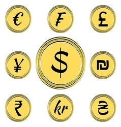 Coins with Currency Symbols vector image vector image